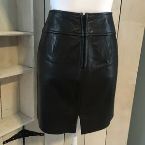 "Ann Taylor real leather pencil skirt 17.5"" long"